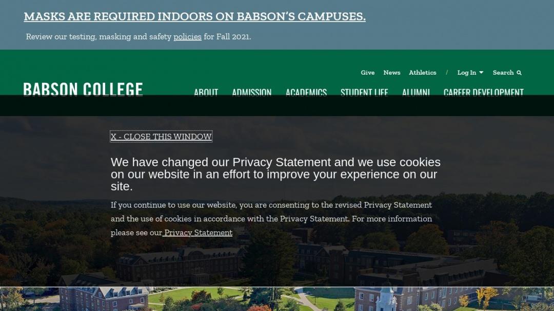 Screenshot of Babson College's Website