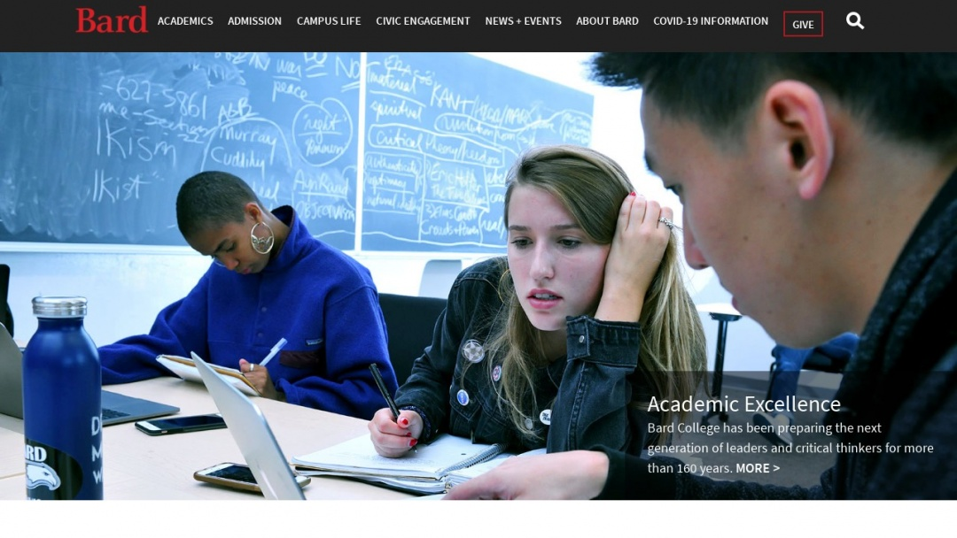 Screenshot of Bard College's Website