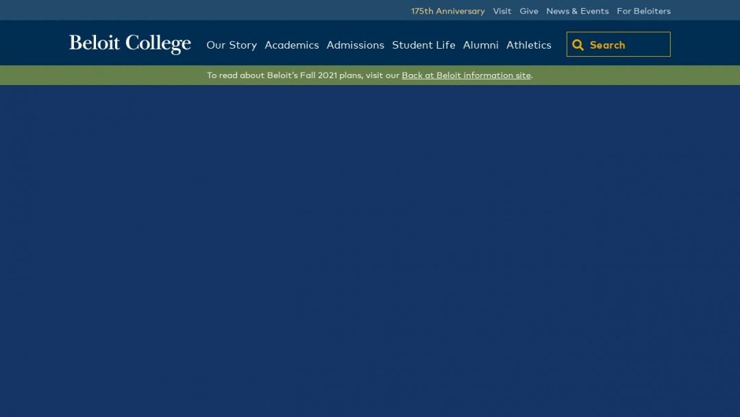 Screenshot of beloit college's Website