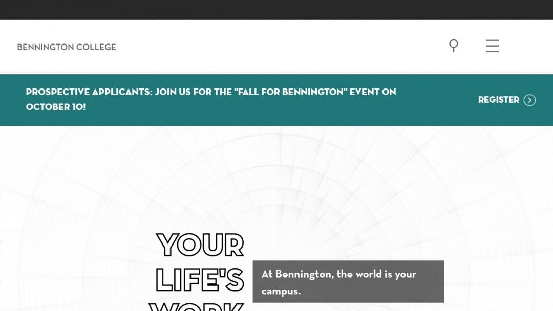 Screenshot of Bennington College's Website