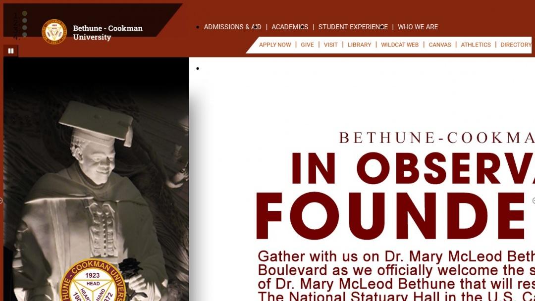 Screenshot of Bethune-Cookman University's Website