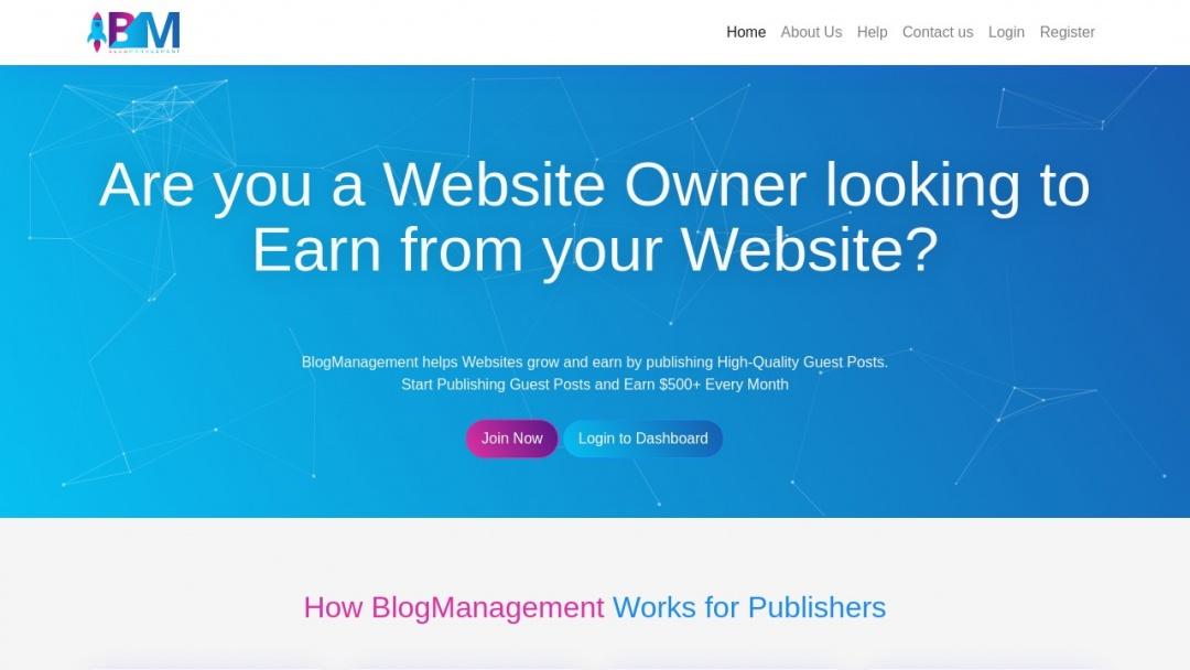 Screenshot of Blogmanagement's Website