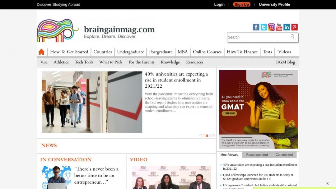 Screenshot of BrainGain Magazine's Website