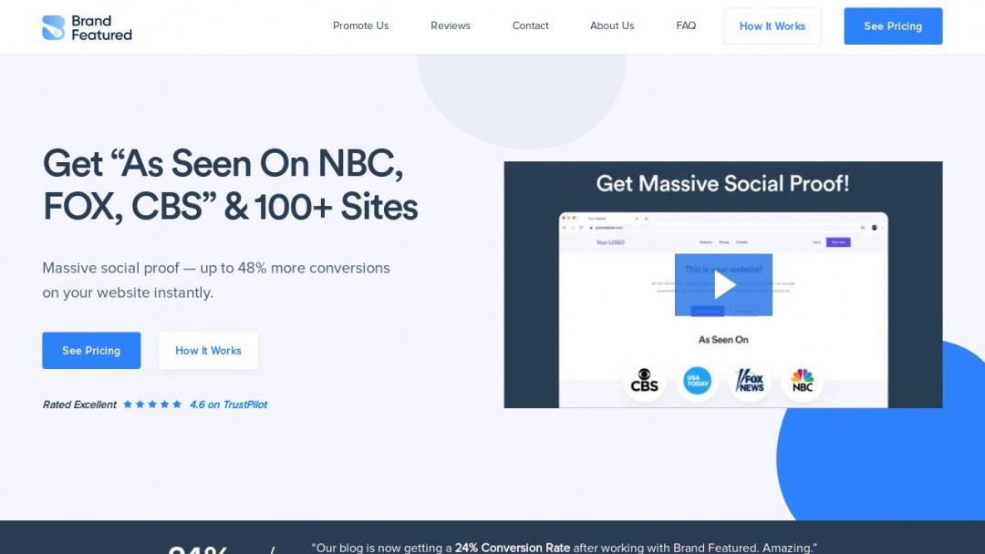 Screenshot of Brand Featured's Website