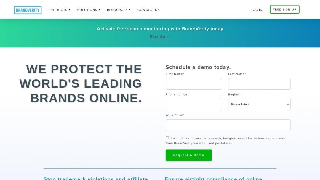 Screenshot of BrandVerity's Website