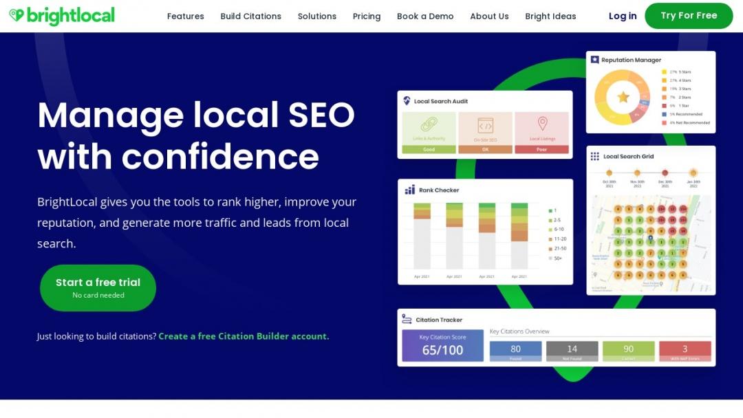 Screenshot of BrightLocal's Website