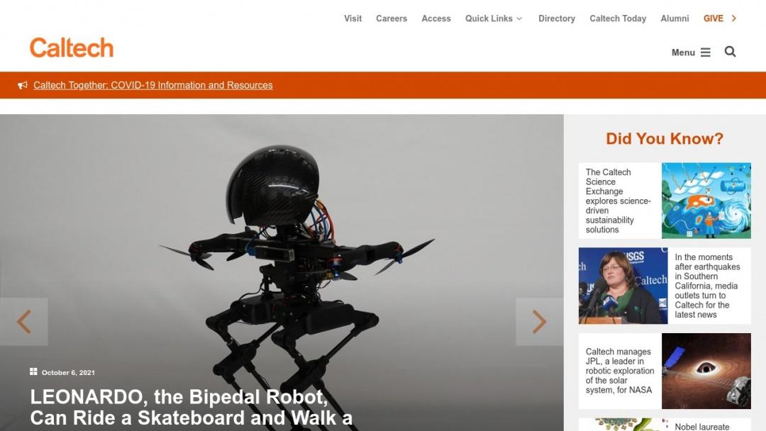 Screenshot of California Institute of Technology's Website