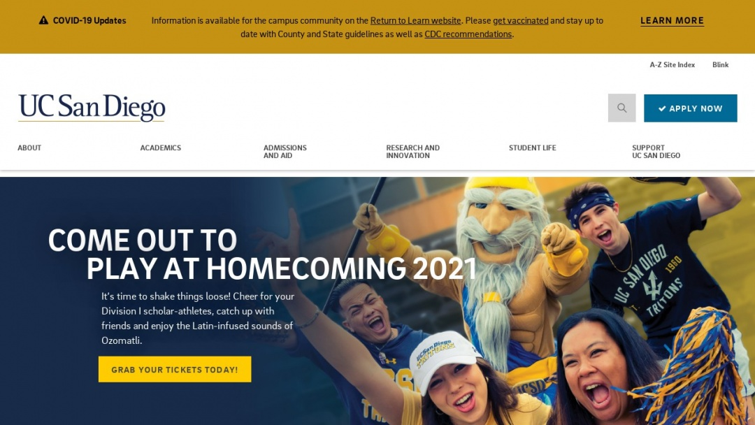 Screenshot of California San Diego's Website