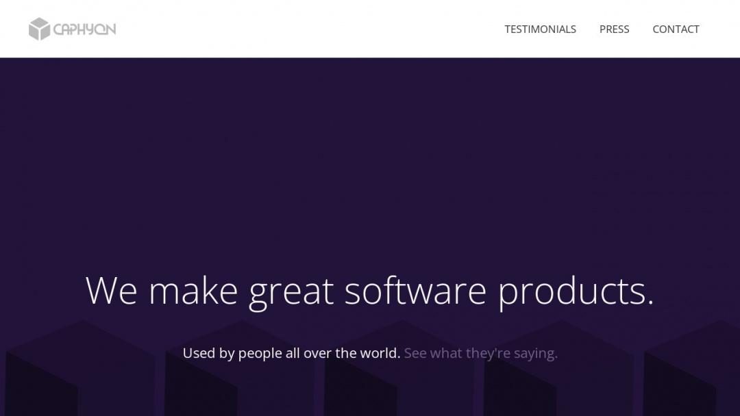 Screenshot of Caphyon's Website