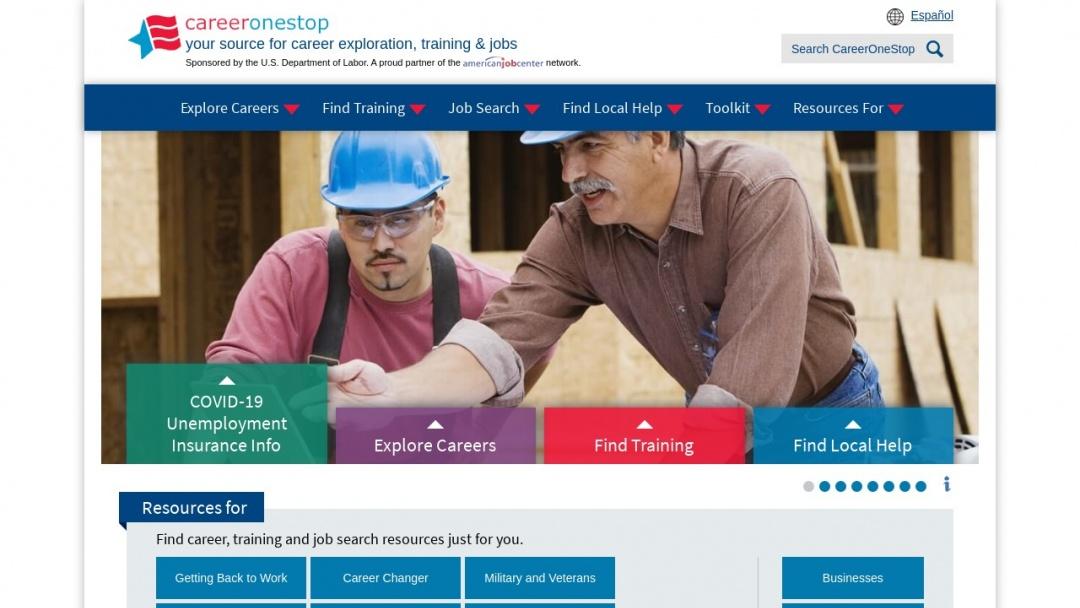 Screenshot of CareerOneStop's Website