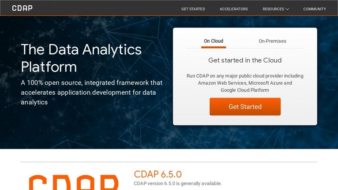 Screenshot of Cask Data's Website