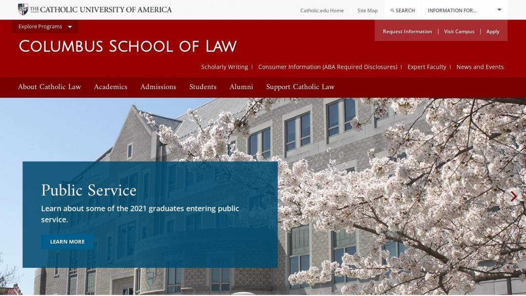 Screenshot of Catholic University of America's Website