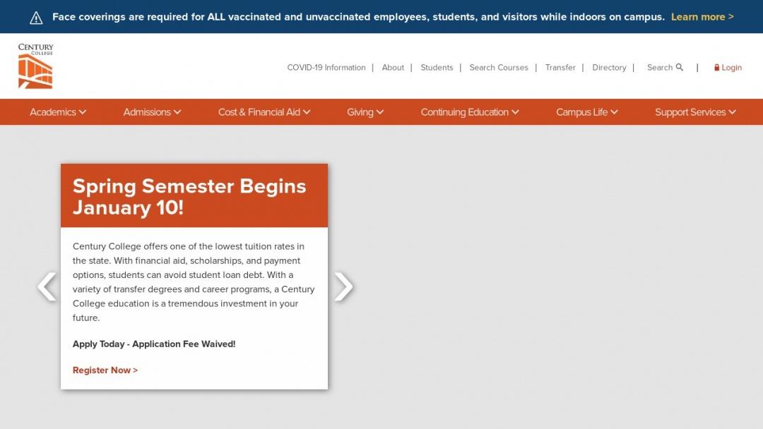 Screenshot of Century College's Website