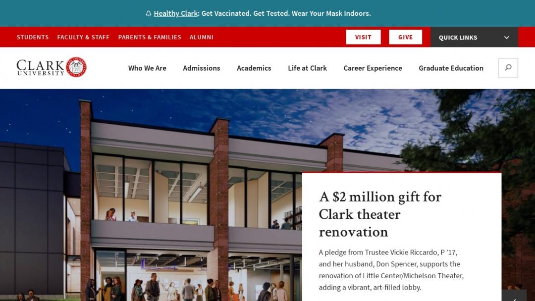 Screenshot of CLARK UNIVERSITY's Website