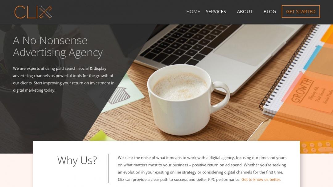 Screenshot of Clix Marketing's Website