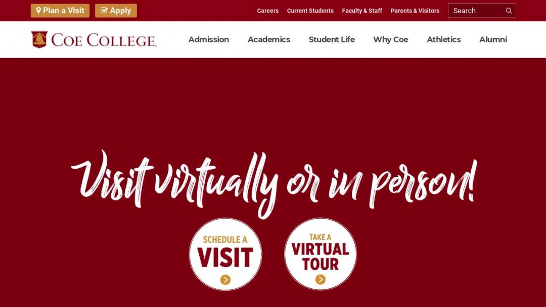 Screenshot of Coe College's Website