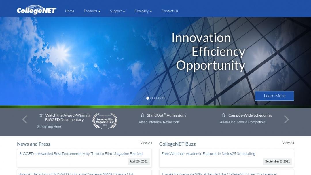 Screenshot of CollegeNET's Website