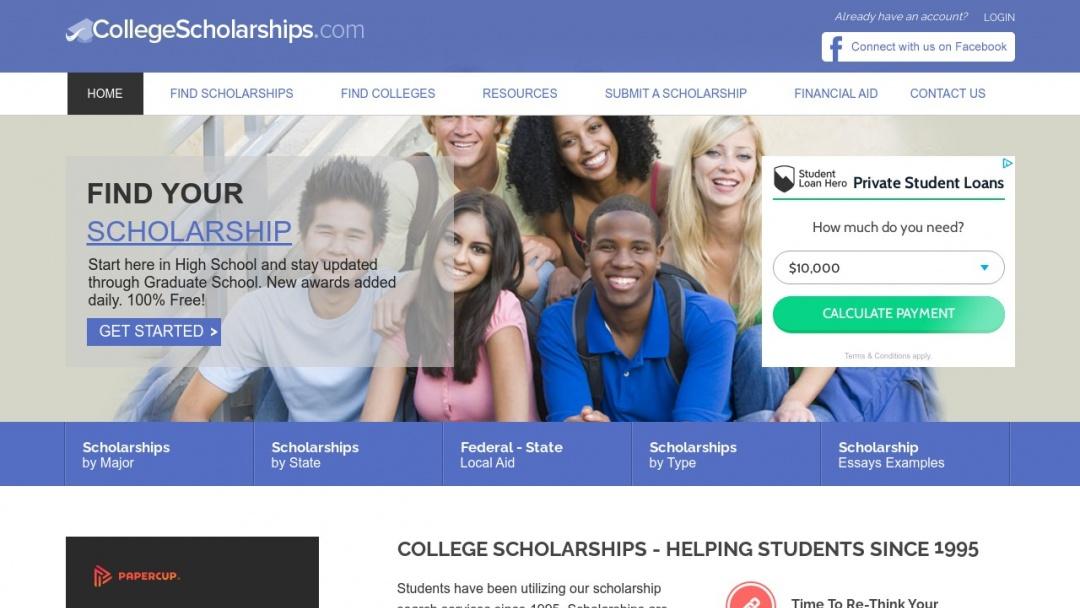 Screenshot of CollegeScholarships.com's Website