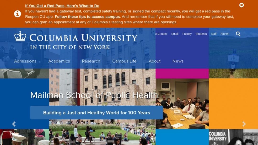 Screenshot of Columbia University's Website