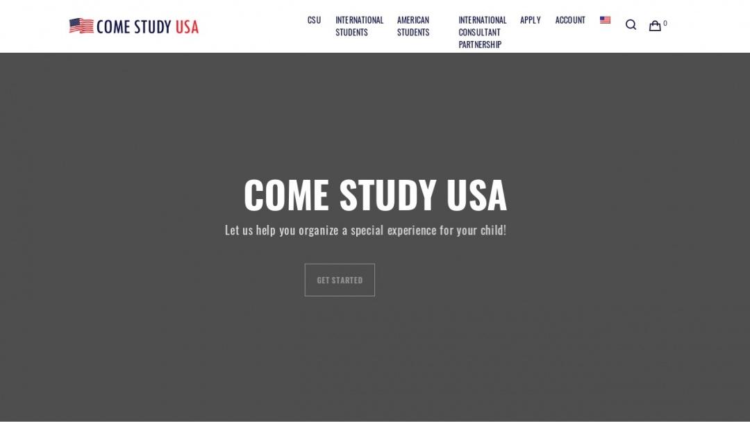 Screenshot of Come Study USA's Website