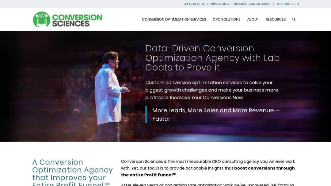 Screenshot of Conversion Sciences's Website