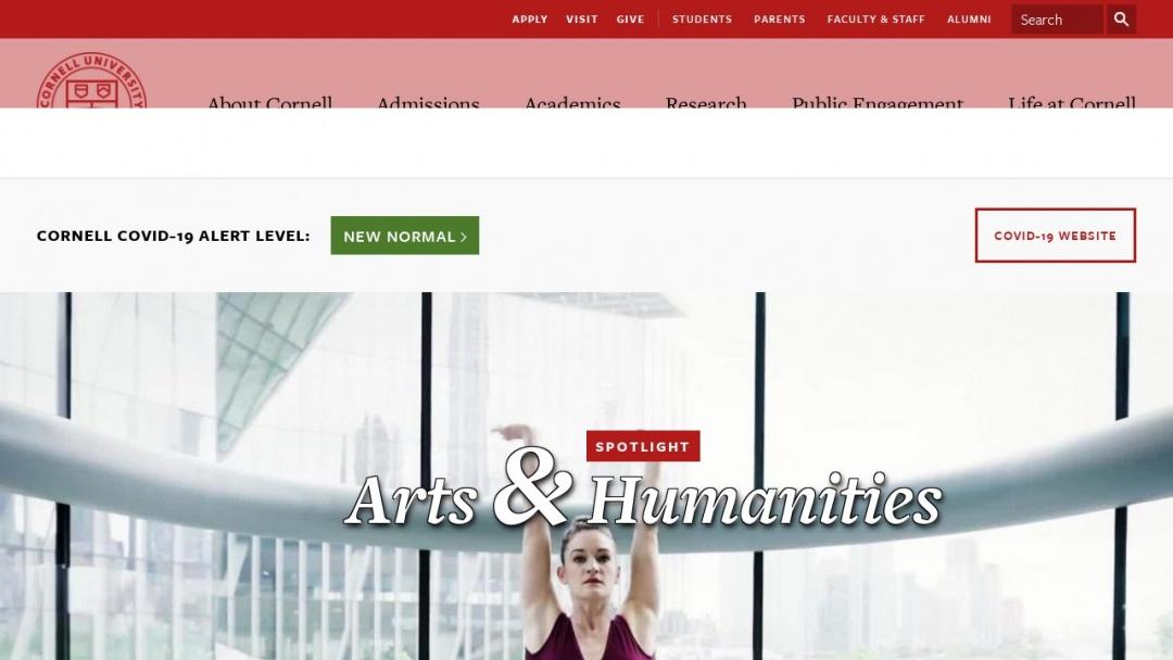 Screenshot of cornell university's Website