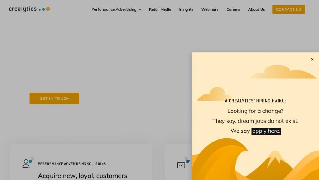 Screenshot of Crealytics's Website