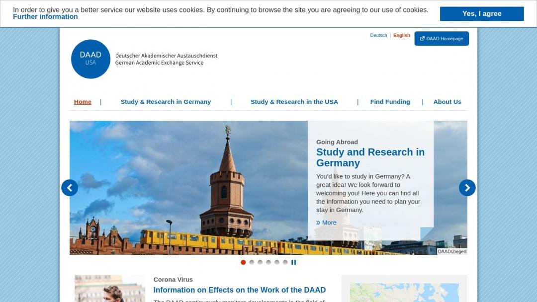 Screenshot of DAAD Office New York's Website