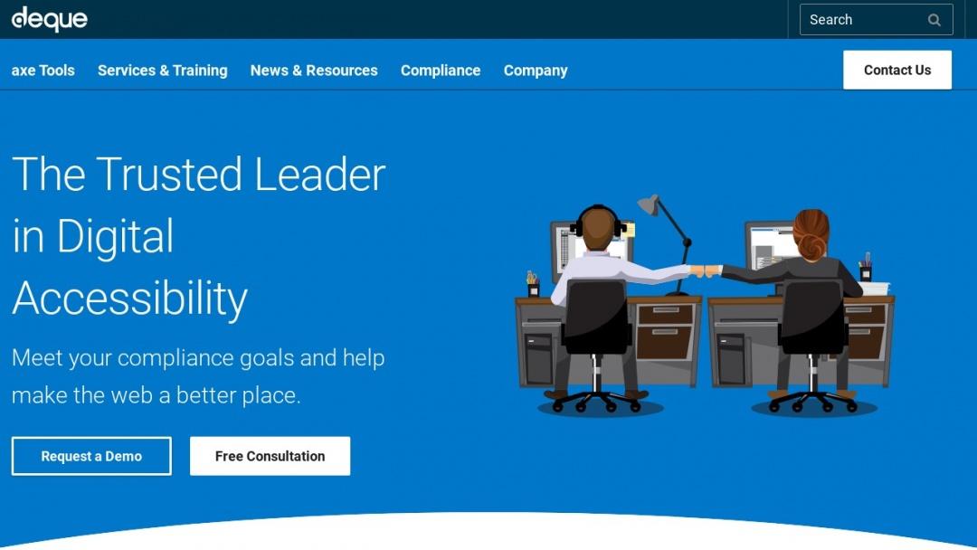 Screenshot of Deque Systems Inc.'s Website