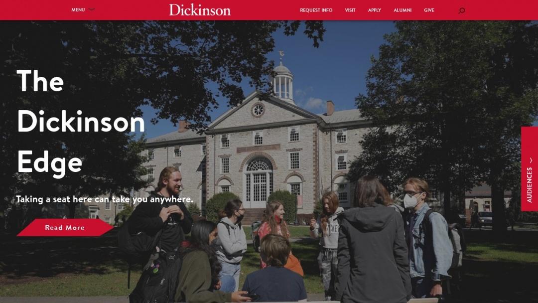 Screenshot of Dickinson College's Website