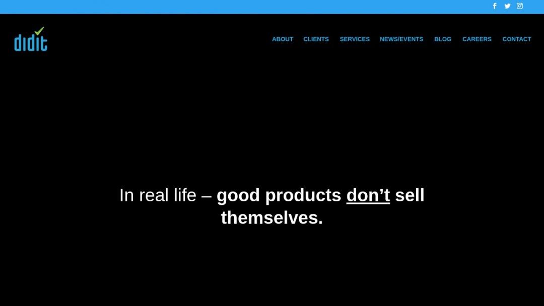 Screenshot of Didit's Website