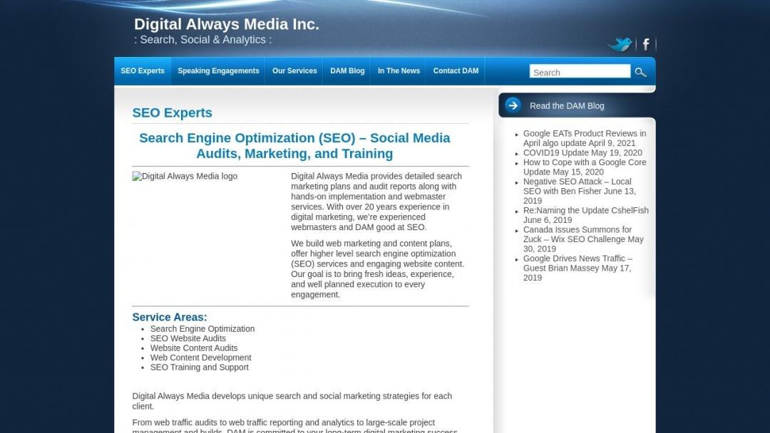 Screenshot of Digital Always Media's Website
