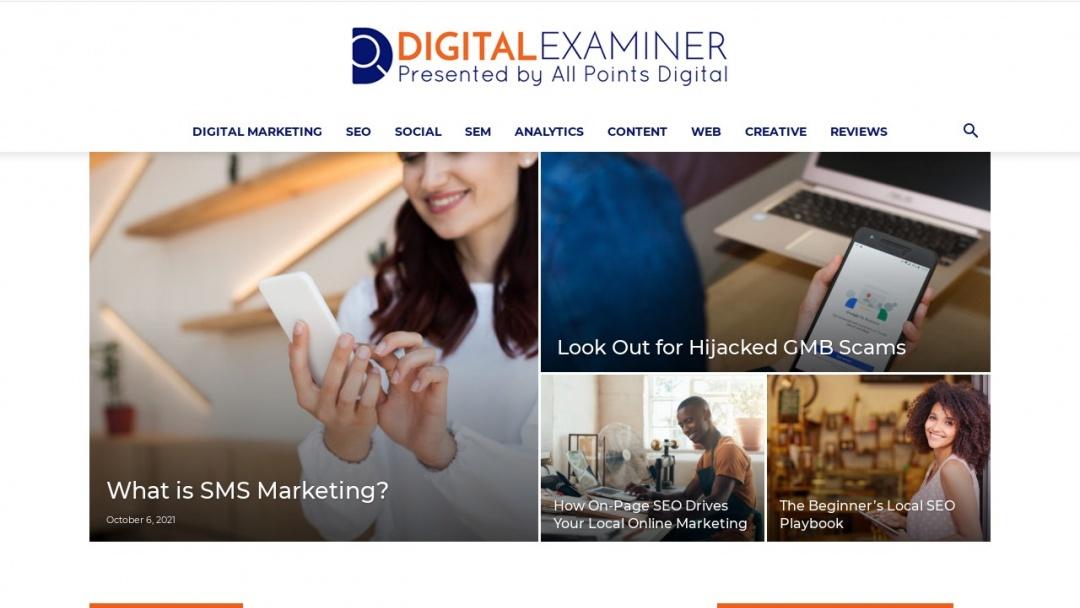 Screenshot of Digital Examiner's Website