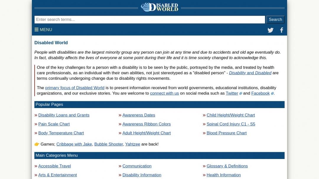 Screenshot of Disabled World's Website