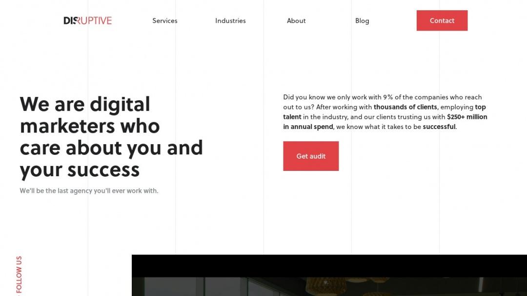 Screenshot of Disruptive Advertising's Website