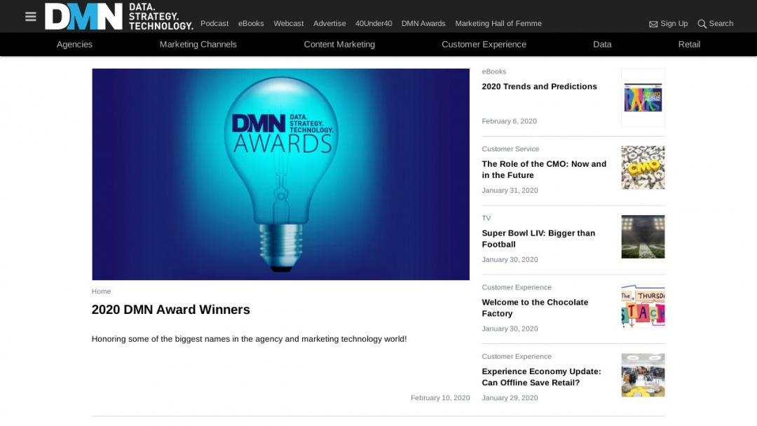 Screenshot of DMN's Website