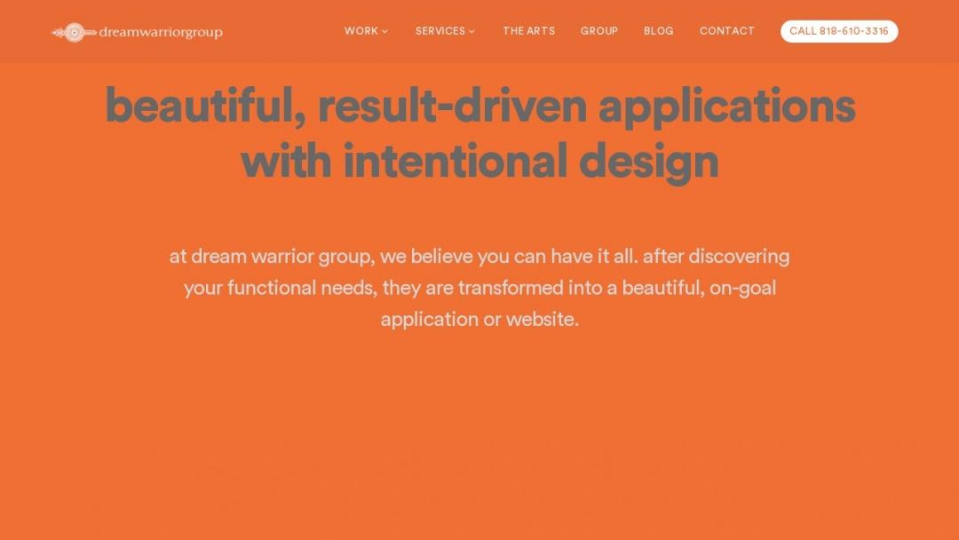 Screenshot of Dream Warrior Group's Website