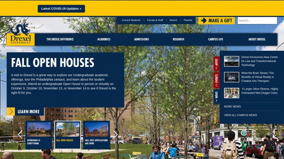 Screenshot of Drexel University's Website