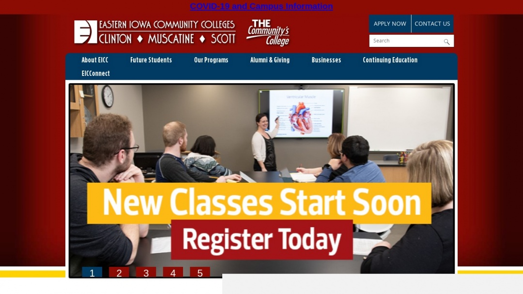 Screenshot of Eastern Iowa Community Colleges's Website