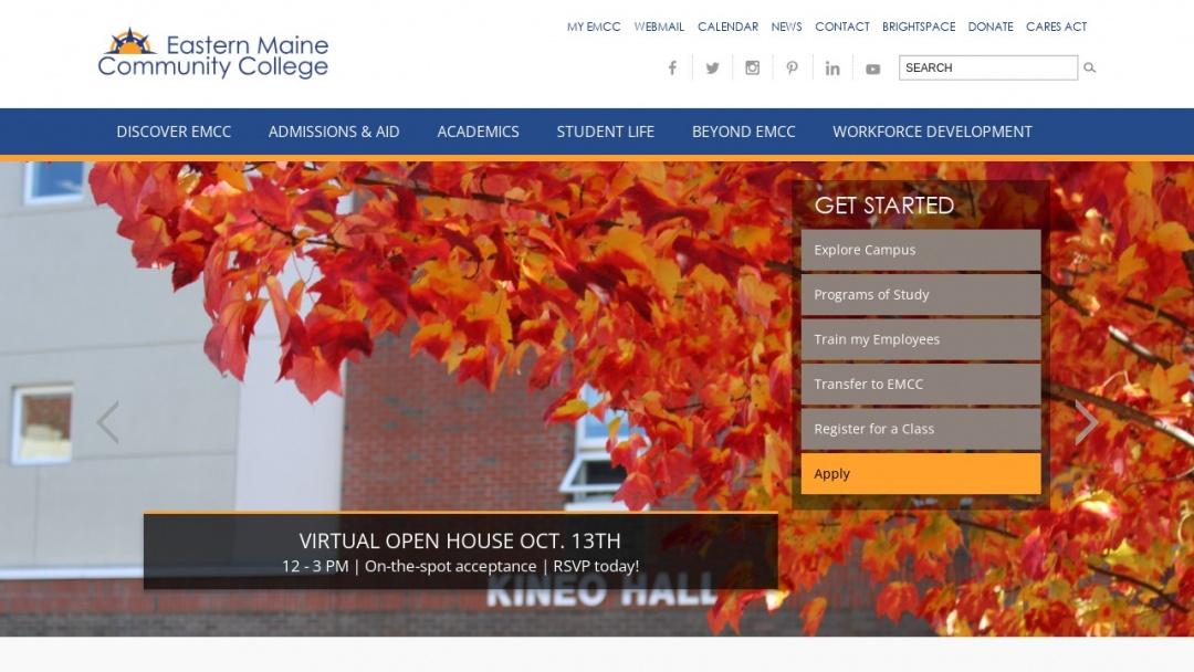 Screenshot of Eastern Maine Community College's Website