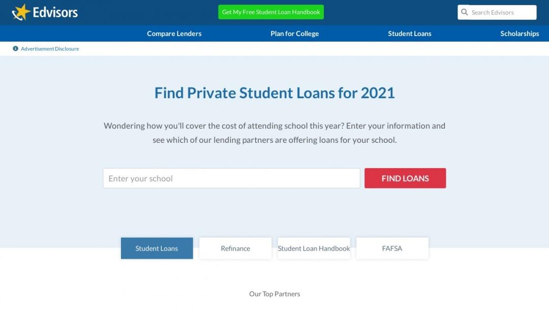 Screenshot of Edvisors Network Inc's Website