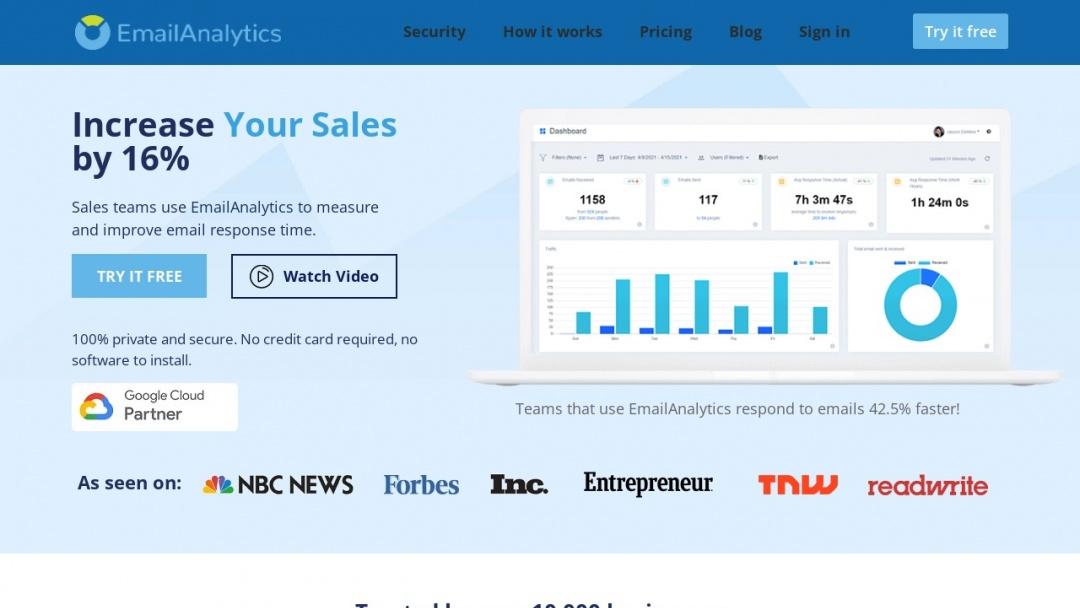 Screenshot of EmailAnalytics's Website