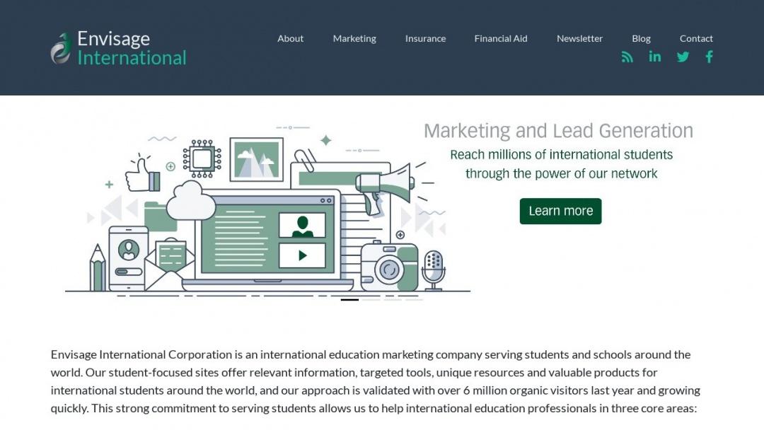 Screenshot of Envisage International's Website