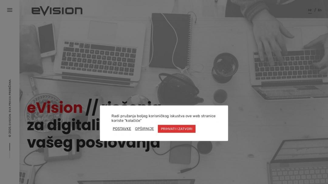Screenshot of eVision's Website