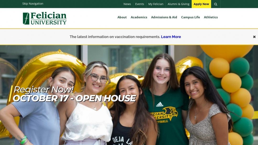 Screenshot of Felician University's Website