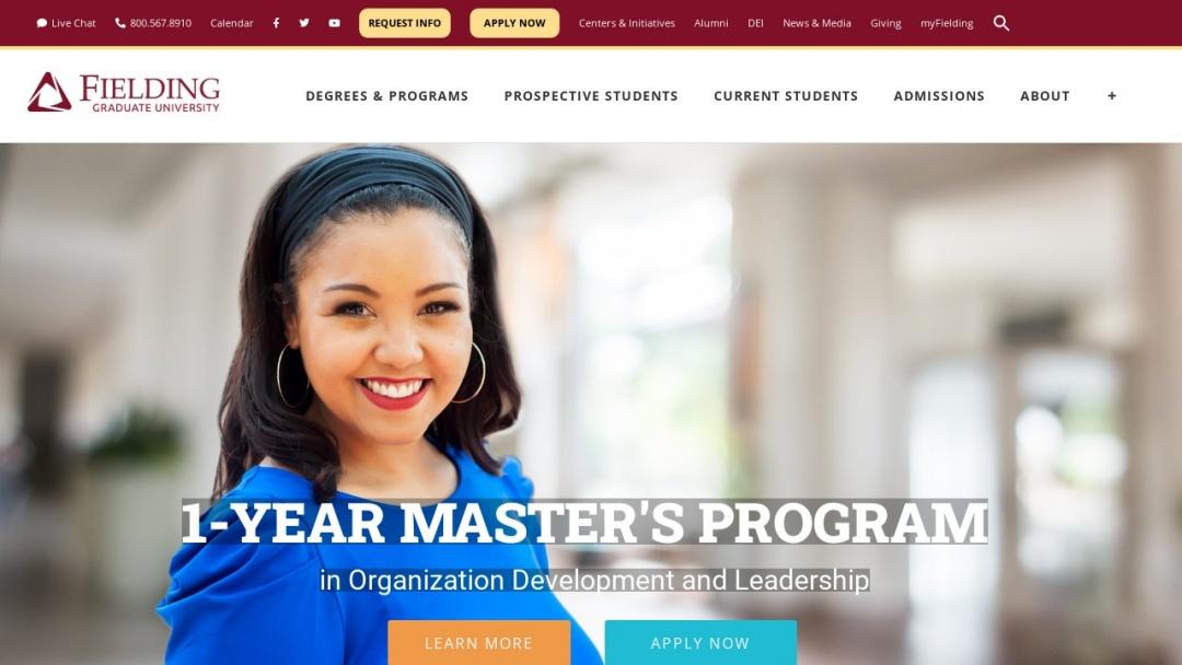 Screenshot of Fielding Graduate University's Website