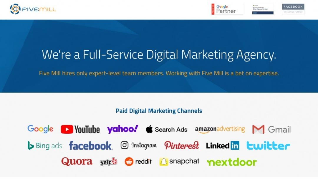 Screenshot of Five Mill Marketing's Website