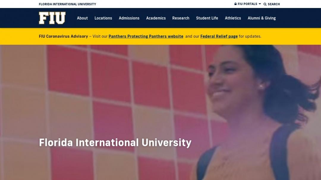 Screenshot of Florida International University's Website