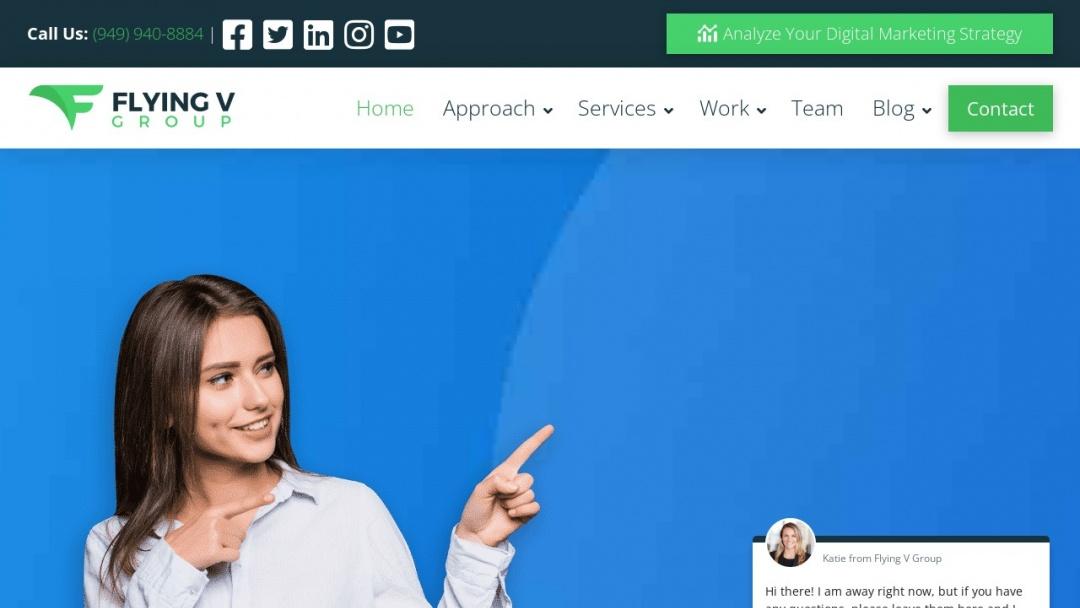 Screenshot of Flying V Marketing's Website