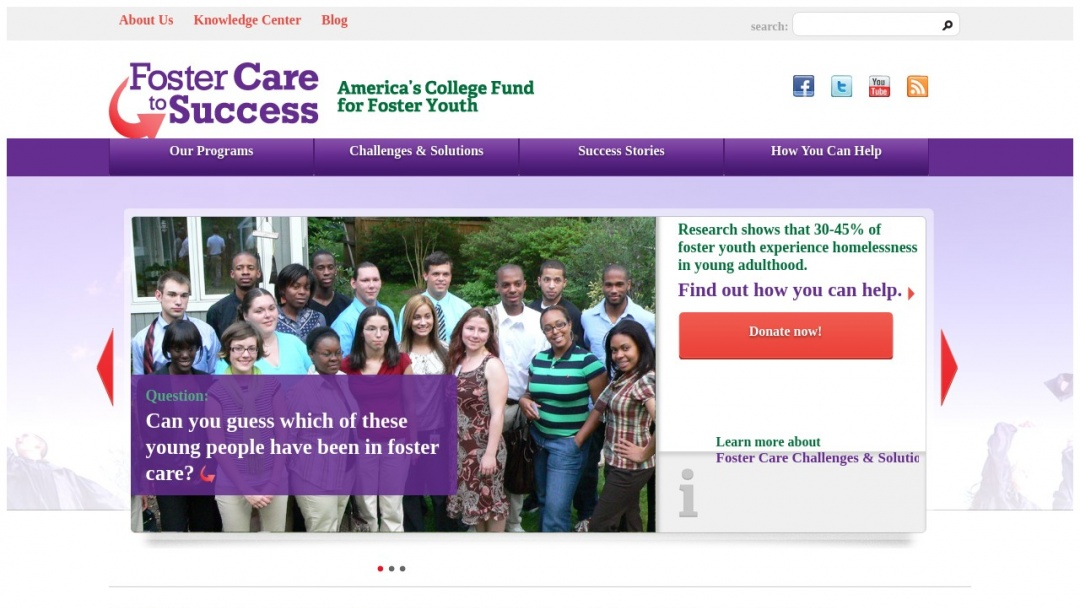Screenshot of Foster Care to Success's Website